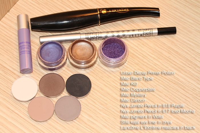 IMG 0596 Makeup tutorial: The look of the header with metallic brown and purple.