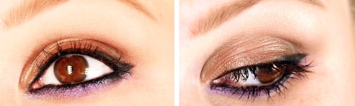 duo liner Makeup tutorial: The look of the header with metallic brown and purple.